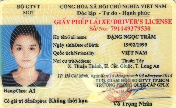 giấy phép lái xe A1